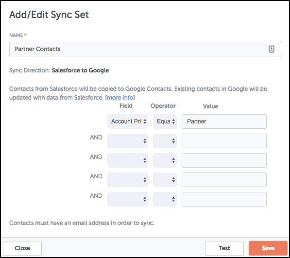How are Sync Sets used with the Contact Sync feature?